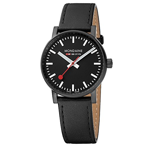 Mondaine Men's  evo2 35mm sapphire Watch with St. Steel IP black Case black Dial and black leather with black stitches Strap MSE.35121.LB