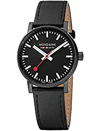 Mondaine  evo2 35mm sapphire Watch with St. Steel IP black Case black Dial and black leather with black stitches Strap MSE.35121.LB