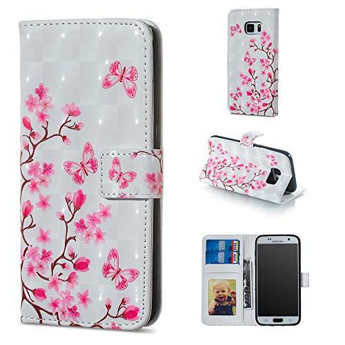 Miagon Lederhülle für Galaxy S7 Edge,3D Bunte Glänzend Ledertasche Klapphülle mit Kartenfach Magnet Standfunktion Wallet Flip Tasche Etui Schutzhülle Handyhülle für Samsung Galaxy S7 Edge