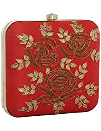 Hopping Street Red With Golden Flower Box Clutch