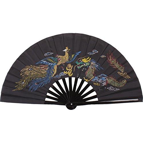 Abanico de madera de bambú, plegable, para artes marciales, diseño de dragón y fénix de 35 cm, negro