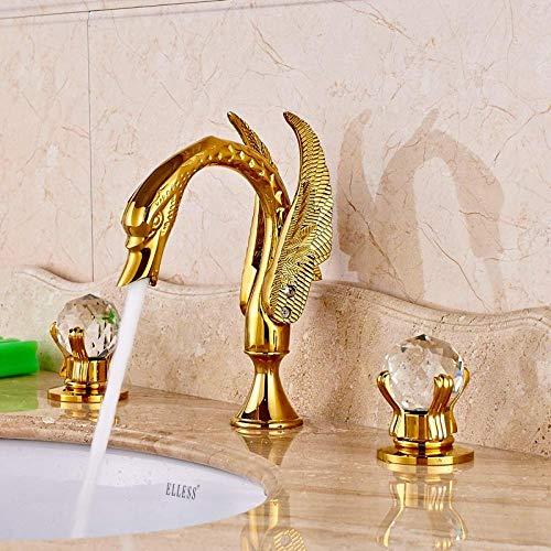 Luxus Messing Tür Gold Poliert Becken Waschbecken Wasserhahn Bad Schiff Wasserhahn Doppel Kristall Griffe Mischbatterie -