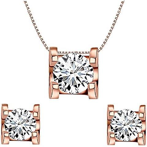 EleQueen argento 925 0,7 orecchini della collana Wedding Carati CZ insieme dei monili in oro rosa placcato