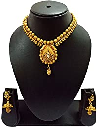Sadnya Traditional Necklace Set With Jhumka Earring For Bridal Jewellery Antique Finish Necklace Set - DLNK57