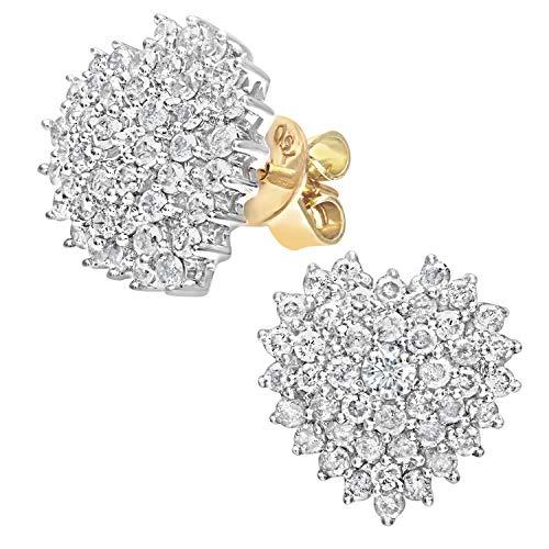 Naava Damen-Ohrstecker 18k herzförmige Cluster Ohrringe 750 Gelbgold teilrhodiniert Diamant (1.00 ct) weiß Rundschliff