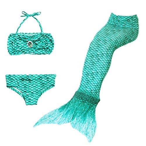 Imagen de prettycos 3pcs bikini traje de bano sirena princesa mermaid swimsuit disfraz de sirena cosplay verde