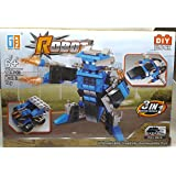 Chocozone 3 in 1 Convertable Transformer / Pull Back Car / Space Marine Building Toy for Boys ( 123pcs Blue)