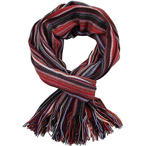 Bufanda, rojo - multicolor, 100% lana (Merino)