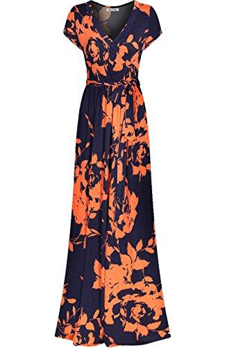 Bon Rosy Damen Maxi-Kleid mit V-Ausschnitt, Blumenmuster, Bohemian-Stil - blau - Mittel (Coral Kleid Junior)