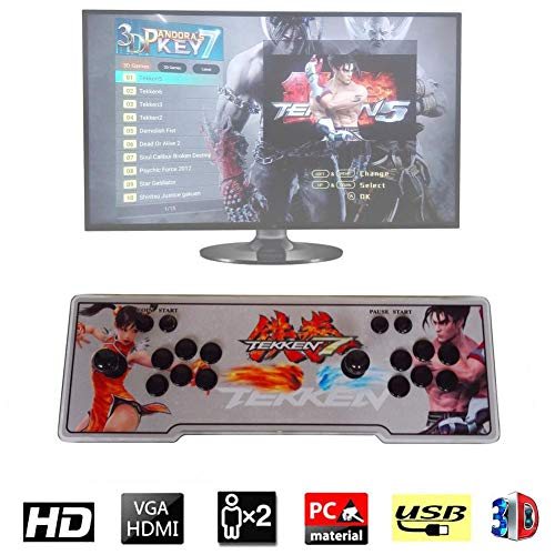 Waroomss Pandoras Box 7 3D-Heim-Arcade-Spielekonsole | Enthält 2177 HD-Spiele | Volles HD1080-Video | Spielsteuerung für 2 Spieler | HDMI/VGA/USB - Konsole 80 Ps3