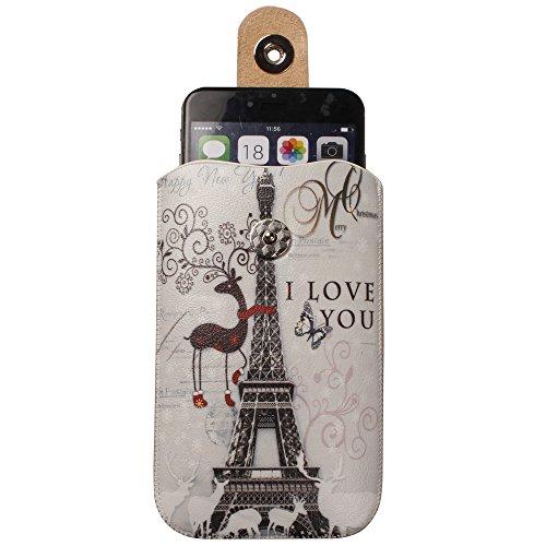 """xhorizon TM magnétique fermeture cuir Pull Tab Sleeve Case Cover Sac Etui Coque Housse Pochette boucle de ceinture ZY pour 4.7""""iPhone 6 E"""