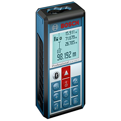 Preisvergleich Produktbild Bosch Professional GLM 100 C, 0,05 – 100 m Messbereich, +/- 1,5 mm Messgenauigkeit, Micro-USB-Kabel, Herstellerzertifikat, Ladegerät, Schutztasche