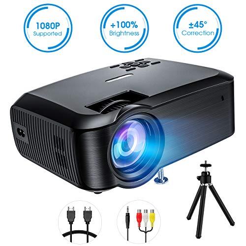 Proiettore Portatile, VicTsing Mini Proiettore Video a LED Supporto 1080P HD, per PC Smartphone TV, Nero