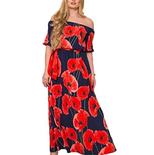 SHUNLIU Mollige Damen Maxikleid Sommer kurzarm WortSchulter Blumenmuster Kleider Strandkleid Lange Herbstkleider Urlaubskleid L-6XL (Sexy Renaissance Kleider)