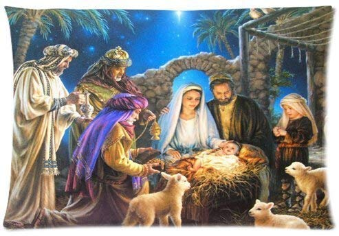 Sdltkhy Fashionable Christmas Nativity Holy Family, Tree-Three Wisemen Christmas Queen Pillowcase Cotton Pillow Case Cover Standard 20x30 inch - Tree Set Nativity Christmas