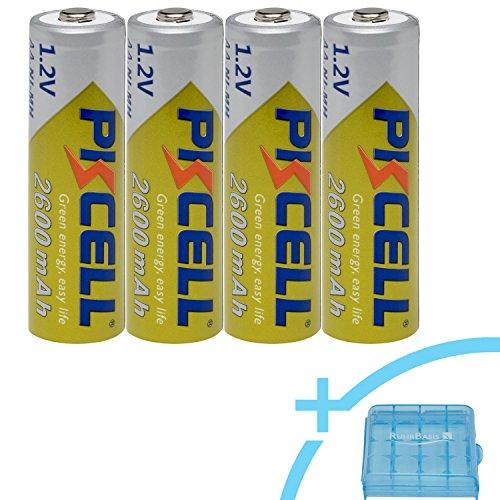 PKCELL Ni-MH Mignon Akku AA 2600mAh / 1.2V Rechargeable wiederaufladbar + RUHRBASIS Aufbewahrungsbox / Batterie-Box - 4er