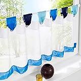 HongYa Kaffee Vorhang Voile Bistrogardine Küchen Gardinen B*H 120*60cm Blau
