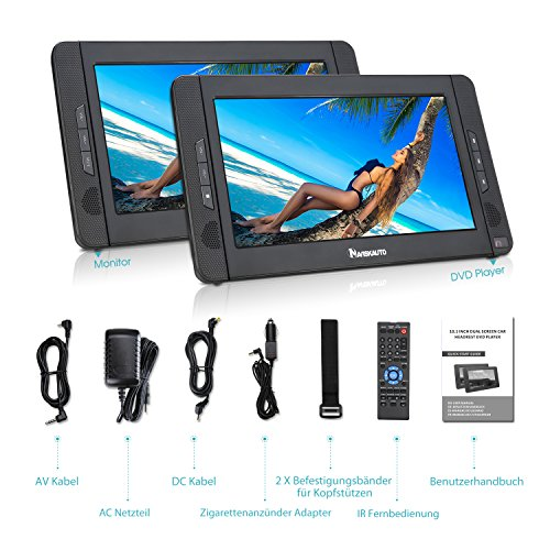 NAVISKAUTO 10,1 Zoll DVD Player Auto 2 Monitore Tragbarer DVD Player mit zusätzlichem Bildschirm 5 Stunden Akku Kopfstütze Monitor Fernseher Dual Bildschirm1014 - 7