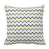 SKDJFBUD Emvency Throw Pillow Cover Navy Blue Light Yellow and Gray Chevron...