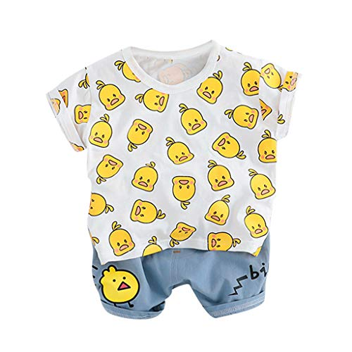 Winkey Kids Set, Kleinkind Baby Trends Lässige Kinder Jungen Cartoon Ente T-Shirt Tops Buchstaben Shorts - Gummi Ente Baby Kostüm