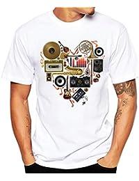 Homebaby® Camicia Uomo Elegante Maglietta Manica Corta Casual Cuore Stampa - T-Shirt Uomo Sportivi Vintage Cotone Stretch Maglione Uomo Tumblr Estiva Particolari Magliette Corte