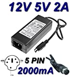 TOP CHARGEUR ® Netzteil Netzadapter Ladekabel Ladegerät 12V 5V 2A 5 PIN für Festplatte DA-30C01 WD Elements WD5000E035-00 HDD