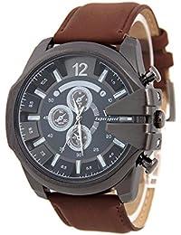 Reloj de pulsera - V6 Reloj de pulsera de cuero de imitacion de esfera para hombres(correa marron y caja negra)