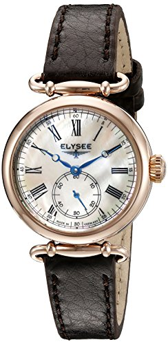 ELYSEE Made in Germany Cecilia 38024 30mm Gold Plated Stainless Steel Case Black Calfskin Mineral Women's Watch