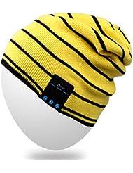 Rotibox Bluetooth Hat Trendy Warm Soft Knit Slouchy Musik Beanie Skully Cap mit Wireless Bluetooth Kopfhörer Headset Kopfhörer Freisprechfunktion für Wintersport Fitness Casual Activities - Gelb