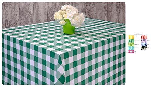 royaltablecloths Carreaux Vichy Polyester nappes et serviettes de table – 9 couleurs, ovale, rond, RCT, SQ, bleu, 48\