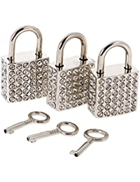 MagiDeal Set Of 3PCS Vintage Square Shape Padlock With Key Backpack Travel Gym Supplies Travel Accessory Silver