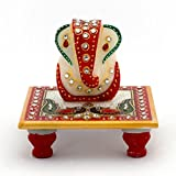 S.G.U. Meenakari Work Lord Ganesh Marble Pooja Chowki (White) + 3 Books Related to Ganesh ji + Gomti Pendant Locket