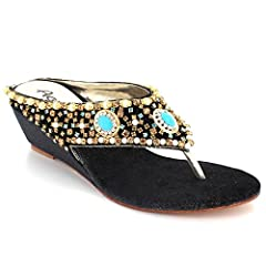 a3f53fc9fdf26 Women Ladies Diamante Toe Post Casual Comfort Slip On Wedge Heel ...