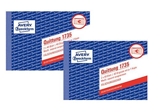 AVERY Zweckform Quittung (A6 quer, MwSt. separat ausgewiesen, 2x40 Blatt) weiß/gelb (2 Stück)