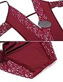 ADOME Lingerie Body Sexy Femme Dentelle avec Bretelles Rouge XL - 5