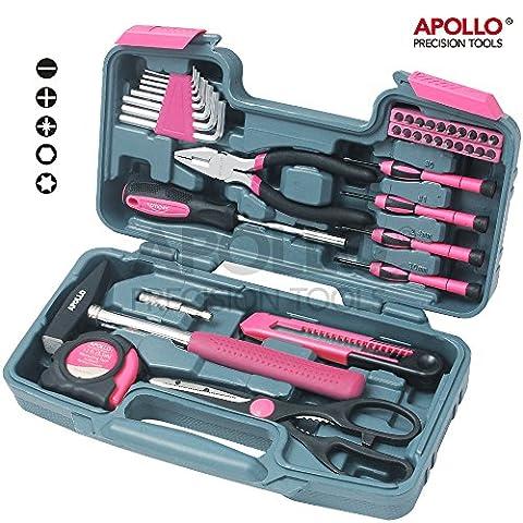 Apollo Präzisions-Werkzeuge 39-teiliges DIY Haushalts-Werkzeugset in Pink mit Kombizange in Box – Großartiges Geschenk