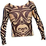 infactory Stylisches Tattoo-Shirt: Tattoo-Shirt Skull, schwarz-weiß (Tattoo-Shirt Herren)