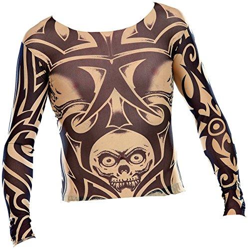 infactory Longsleeve Tattoo Shirt: Tattoo-Shirt Skull, schwarz-weiß (Tattoo-Shirt -