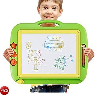 Lavagna Magnetica Magica Colorato Doodle Tavolo da Disegno Cancellabile per bambini grande con 4 Colors e 3 Stampini - Giocattoli Educativo per Bambini (43 x 37cm )