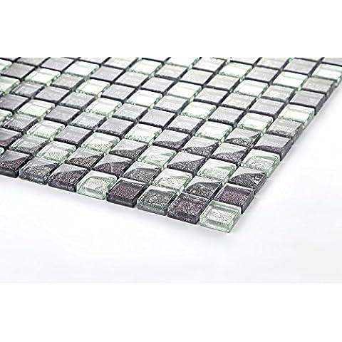 10cm x 10cm modello. Vetro mosaico piastrelle motivo con fernöstlicher struttura in nero, viola e argento MT0004modello