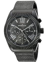 Peugeot - Reloj de pulsera para hombre (correa de malla, acero inoxidable, multifunción, con calendario), color negro