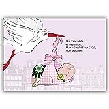 20 Baby Karten (Mädchen) Motiv Storch rosa direkt mit eigenem Innendruck gestalten Motiv: süßes Baby mit Storch - Ihren persönlichen trendig gestalteten Text drucken wir innen - einfach Schriftart auswählen