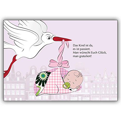 4 Baby Karten (Mädchen) Motiv Storch rosa direkt mit eigenem Innendruck gestalten Motiv: süßes Baby mit Storch - Ihren persönlichen modern gestalteten Text drucken wir innen - einfach Schriftart auswählen