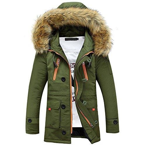 BOZEVON Hommes Hiver Blouson À Capuche Col De Fourrure Chaud Hoodies Manteau Pardessus Veste d'hiver Outwear