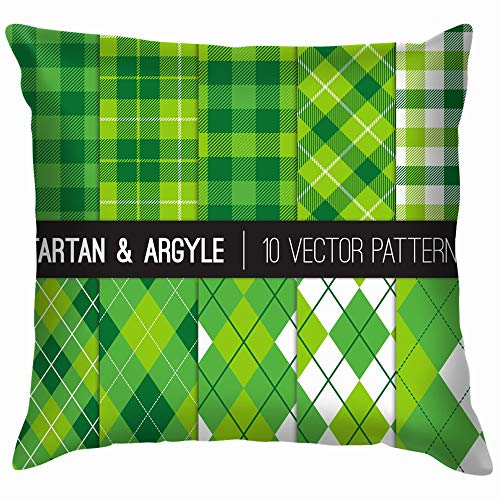 Green Golf Argyle Tartan Gingham Plaid Holidays Throw Pillow Case Cushion Cover Pillowcase Watercolor for Couch 18X18 Inch