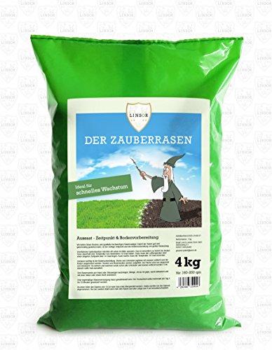Linsor Zauberrasen 4kg - Schnellwachsender Rasensamen - Grassamen, Rasensaat, Rasen, Wunderrasen, Schnellwuchsrasen, Turborasen