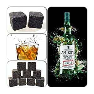 9pcs Whisky Ice Stones Drinks Cooler Cubes Whiskey Scotch on The Rocks Granite - Colours Available: BLack; Light Granite; Dark Granite; White (Black)