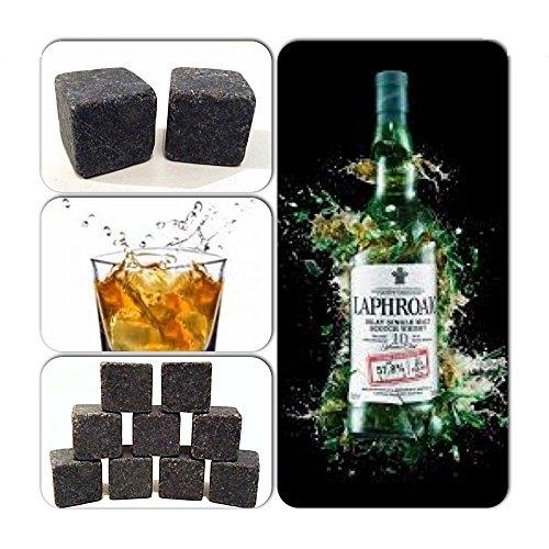 9 Stück Whisky Steine Drink Kühler on The Rocks Granit - Farben: Schwarz, Granit Hell, Granit Dunkel, Weiß - Schwarz