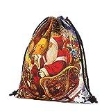 Subfamily® Christmas Candy Geschenktasche Bundle Pocket Santa Claus Snowman gedruckten Rucksack Weihnachten Drawstring Tasche bequem, tragbar und praktisch Polyester (C)