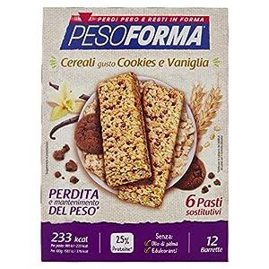 Pesoforma Barrette Cereali Croccanti, Cookies e Vaniglia - Pasti sostitutivi dimagranti SOLO 233 Kcal- Ricco in proteine - 6 pasti 6 spesavip